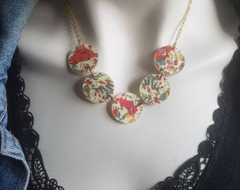 OOAK Liberty fabric necklace - made with love - textile covered buttons - 2 sided - double sided - UK Seller - ships worldwide