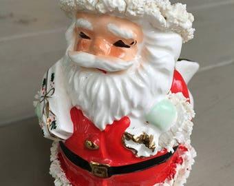 Vintage Inarco Santa Toy Sack Candy Dish w/ Spaghetti Trim