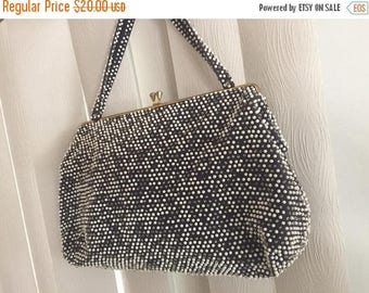 Memorial Day Sale 25% OFF Darling Vintage Beaded Handbag Black and White
