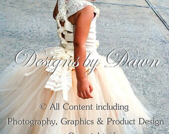 Custom listing for Brittany -Nov. - Ivory & Champagne flower girl dress with lace and hair piece.