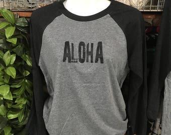 Graphic Unisex Baseball Tee- Aloha