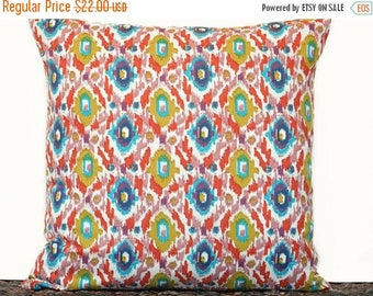 Christmas in July Sale Green Ikat Pillow Cover Cushion Chartreuse Orange Teal Salmon Blush Pink Navy Blue Beige Decorative Repurposed Multic