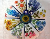 Reserved for Lynn- Pincushion- Summer Garden Hand Embroidery on Linen Pincushion - Made to Order