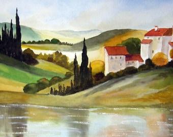 Tuscan Hills #3 - Watercolor