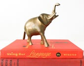 Vintage Brass Elephant Good Luck Charm Trunk Up Symbol of Good Fortune