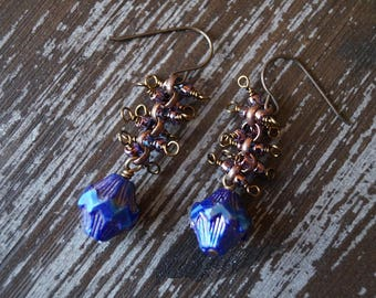 Metalic Blue Earrings - Spindle Earrings - Chain Earrings - Bead Soup Jewelry - Dangle Earrings