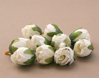 10 White Tea Roses - Artificial Flowers, Silk Roses, Small Flowers