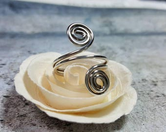 Ring Sterling Silver Wire Wrapped Spiral adjustable #1410