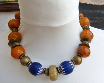 Tibetan Resin Amber Necklace with Six Layer Chevron Beads and Antique Bovine Bone Ring