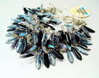 Rocker Bracelet, Glass Spike Dagger, Triple Strand Bracelet, Rock Star, Rock n Roll Jewelry, Rock and Roll, Modern Jewelry, Artisan Bracelet