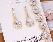 Gold Wedding Bridesmaid Gift Bridal Earrings Necklace Bracelet Jewelry Set Clear White Cubic Zirconia Teardrop Ear Studs E306 B85 N221