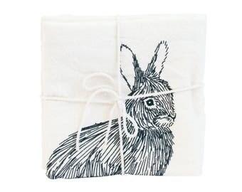 Rabbit  Illustrated Flour Sack Towel, Natural Screen-Printed Tea Towel, Large Cotton Woodland Kitchen Dish Towel, by SKT Ceramics on Etsy