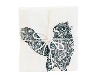 Squirrel Illustrated Flour Sack Towel, Natural Screen-Printed Tea Towel, Large Cotton Urban Woodland Kitchen Dish Towel, by SKT Ceramics