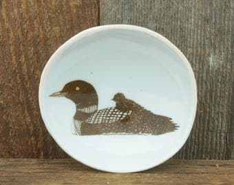 Loon Woodgrain Dish by SKT Ceramics. Hand built porcelain dish, jewelry dish, olive oil dish, tapas dish by SKT Ceramics