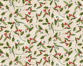 Wilmington Prints - Christmas In The Wildwood - Holly - Tan Fabric by yard or select cut  33808-237