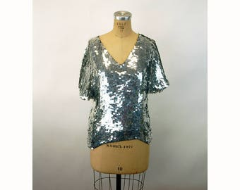 1980s sequin top silver black Swee Lo top slouchy batwing silk top Size M/L