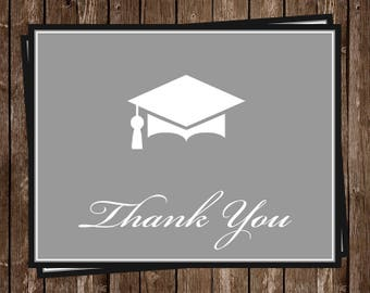 Thank You Cards, Graduation, Navy Blue, Commencement, Placard, Gray, Graduate, 20 Folding Notes, FREE Shipping, Senior, High School, College