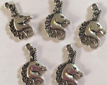 5 x Tibetan silver unicorn charms