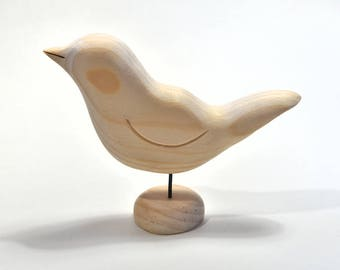 Wood Carving Unfinished Wood Bird Spring Easter Craft Supply, Wooden Birds, Wood Sculpture, Adult Craft, Painting Supply