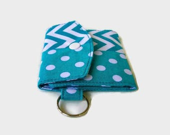 Turquoise Mini Wallet with Key Ring - Trifold Pocket Credit Card Holder - Matching Optional Key Fob - ID Holder - Small Travel Wallet