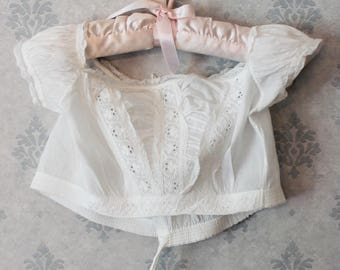 Antique 1800s White Cotton Short Baby's White Work Lace Trimmed Top