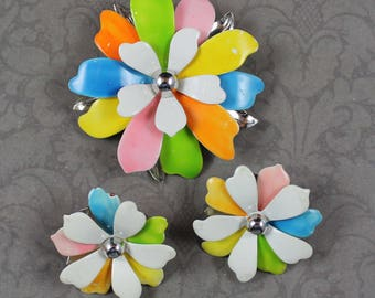 Vintage Sarah Coventry 1960's to 1970's Multi Colored Enameled Silver Flower Brooch and Clip On Earrings Set