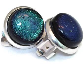 Dichroic Non-Pierced Clip On Earrings, Clip on Earrings,Fused Glass Earrings, Green Earrings