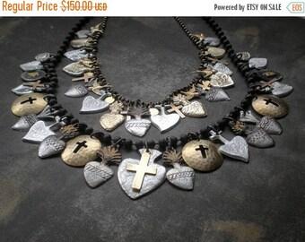 ON SALE SET- Milagro Heart Blessing Necklaces.. Spiritual Ex Voto Design