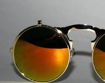 Round Flip Up Sunglasses  Rocker Chic