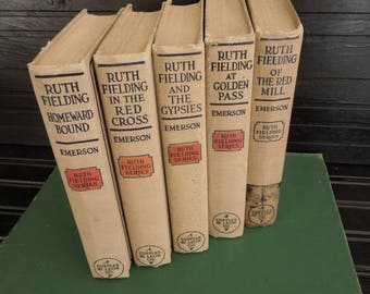 Vintage Beige Books by Color  - Instant library - Books For Decor - HGTV Bookshelf  - Ruth Fielding Book Stack