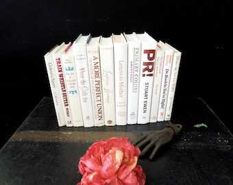 White Books by the Foot Red Gold Accents - Book Stack - 12 Books Stack - Vintage Wedding Bridal Decor