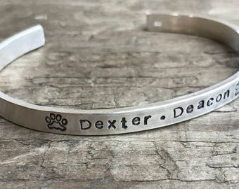 Pet Memorial In Memory Bracelet Personalized sterling silver Fur Baby Memorial bracelet for your Cat or Dog