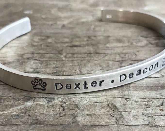 Pet Memorial In Memory Bracelet Personalized sterling silver Fur Baby Memorial bracelet for your Cat or Dog