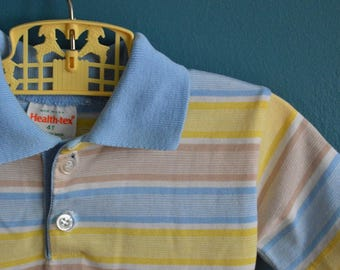 Vintage Boy's Yellow, Tan and Blue Striped Polo Shirt by Health-tex - Size 4T