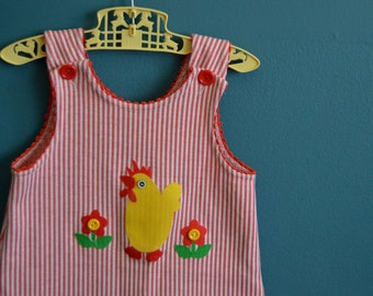 Vintage Girl's Red and White Striped Jumper with Chicken Applique - Size 4T