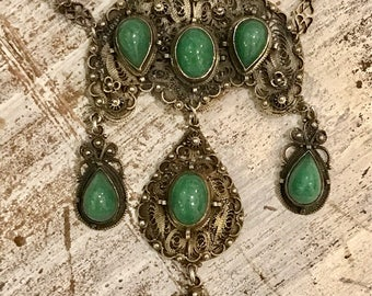 Beautiful Renaissance Art Nouveau Italian Filigree Sterling Silver Green Chrysoprase Vintage Antique Festoon Necklace