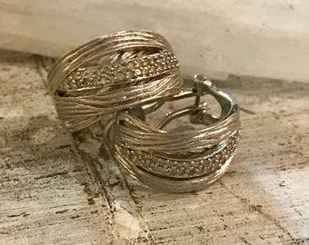 Stunning Designer Effy 925 Sterling Silver White Diamond Earrings Singed