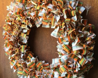 Fabric Scrap Wreath in Fall Colors - Orange, Green, and Black Striped