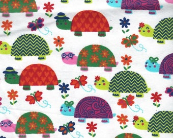 """TURTLES multicolor on White Background Flannel Fabric, 1 yard x 42"""" inches wide.  Brand new."""