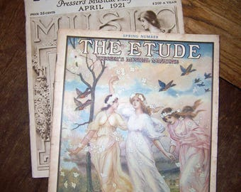 THE ETUDE Musical Magazines, Vintage 1920 & 1921, Lot of 2, April 1920, April 1921, Cover Art by Wm. S. Nortenheim