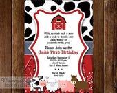 25% OFF SALE Farm Invitation, Farm Animals Birthday Party Invite, Farm Invite, Farm Party, Farm Birthday Invitation, Barnyard Invitation, Fa