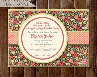 20% OFF SALE Baby Shower Invitation, Cute as a Button Baby Shower Invitation, Button Shower Invitation, Sewing Invitation, Button Theme, DIY