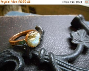 SALE Dragon's Eye. Genuine Opal, Golden Pyrite (Fool's Gold ) & Hammered Copper Ring