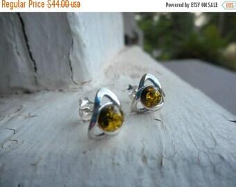 SALE The Eyes of Ra Golden Baltic Amber and sterling silver cast metal valknut earrings. Stud earrings post earrings