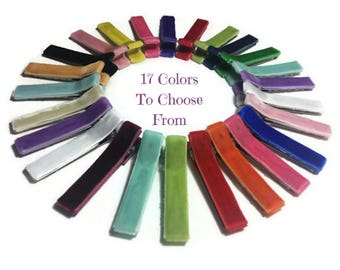 10 Velvet Lined Hair Clips, 45mm, Lined Alligator Clips, No Slip Hair Clips, Fully, Partially Lined, Double, Single Prong, Ribbon Lined
