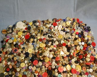 Hundreds Vintage and Modern Sewing Buttons Decorative 3 1/2 Pounds Shanks