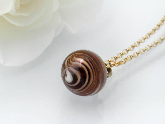 Victorian Drop Pendant | Unique Coffee, Cream Swirl Glass 'Charm String' Necklace, Antique Glass Charm String Button Pendant - 20 Inch Chain
