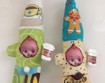 Coffee break gnome kewpie doll ornaments green tea and gingerbread latte