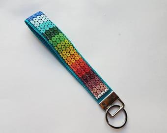 Rainbow Gems key fob/rainbow key fob/key fob/dots/key chain/key ring/gems/rainbowgems/ROYGBP