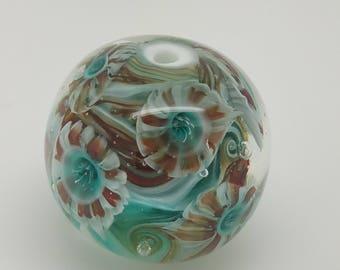Striped Anenome Bead, Lampwork Bead, Handmade Murrine, OOAK, Artisan